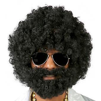 Mens Afro pruik met baard fancy dress accessoire