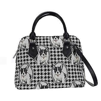 French bulldog top-handle shoulder bag by signare tapestry / conv-fren