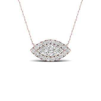 Igi certified 10k rose gold 0.25ct tdw natural diamond marquise halo necklace