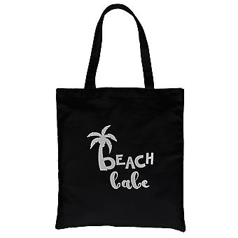 Beach Babe Palm Tree-SILVER Black Canvas Shoulder Bag Everlasting