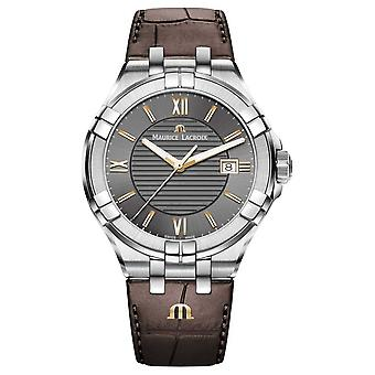 Maurice Lacroix Mens Aikon Brown Leather Strap Rose Gold Accents AI1008-SS001-333-1 Watch