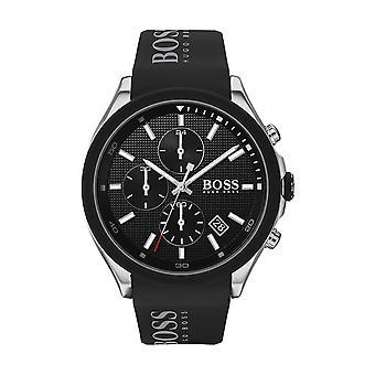 Hugo Boss horloge 1513716-Velocity Chrono Box staal zwarte wijzerplaat zwarte siliconen armband zwart mannetje