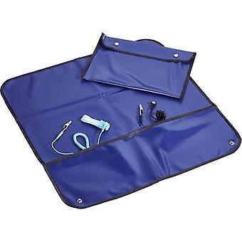 TRU COMPONENTS ESDM -600600 RD ESD maintenance kit Dark blue (L x W) 60 cm x 60 cm incl. PG cable, incl. PG strap