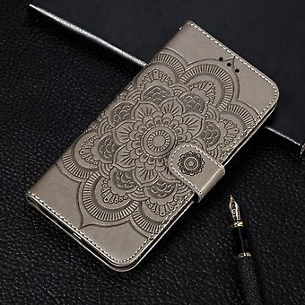 For iPhone 11 Case Gray Mandala Emboss Pattern Folio Cover with Card & Cash Slots, Lanyard & Kickstand