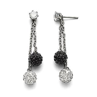 Stainless Steel Polished Black and White Crystal Post Long Drop Dangle Earrings Jewelry Gifts for Women