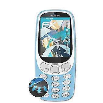 atFoliX 3x Schutzfolie kompatibel mit Nokia 3310 3G 2017 Folie klar&flexibel