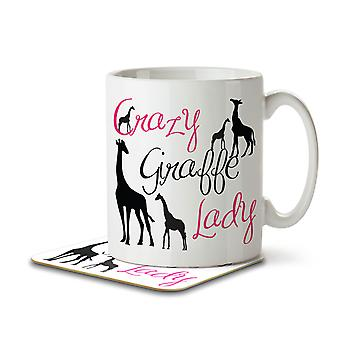 Crazy Giraffe Lady - Mug and Coaster