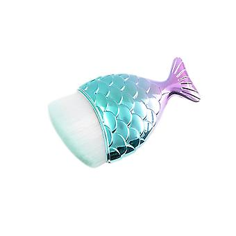 Make-up brush, Mermaid - Turquoise, angled
