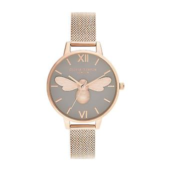 Olivia Burton Watches Ob16fb10 Lucky Bee, Grey Dial & Rose Gold Mesh Ladies Watch