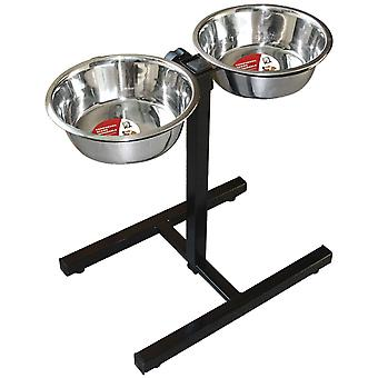 ICA justerbar dobbelt stål Feeder (hunde, skåle, foderautomater & vand dispensere)