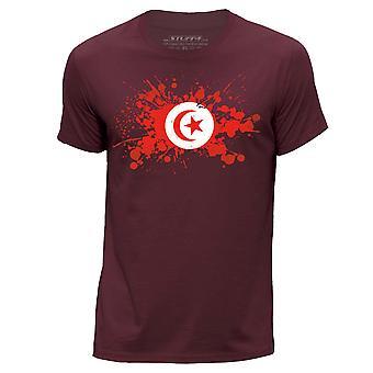 STUFF4 Herren Runde Hals T-Shirt/Tunesien/tunesische Flagge Splat/Burgund