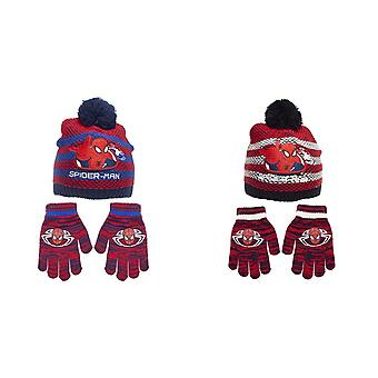 Spider-Man Childrens/Kids Striped Beanie Bobble Hat And Gloves Set