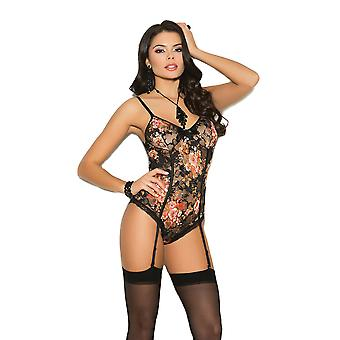 Womens Sexy Plus Size Floral Print Lace Gartered Cheeky Teddy Romper Lingerie