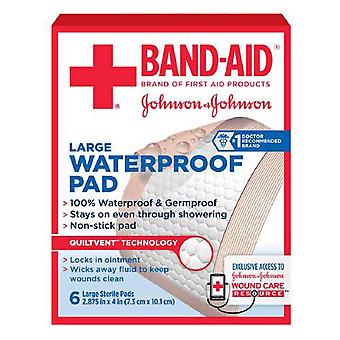 Band-aid waterproof gauze pad, large, 6 ea