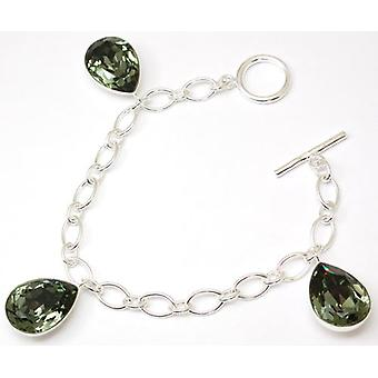 925 Silver Elements Green Crystal Oval Charm Bracelet
