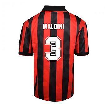 Score Gelijkspel AC Milan 1994 Retro Voetbalshirt (MALDINI 3)