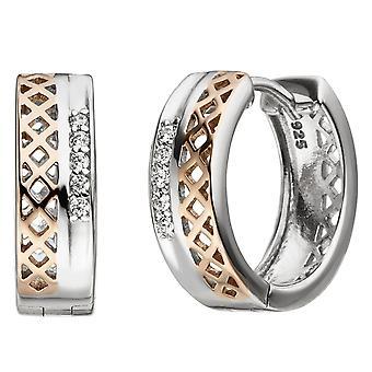 أقراط هوب 925 الجنيه الاسترليني الفضة ثنائية اللون الذهب مطلي 10 الأقراط الزركونيا مكعب الأقراط طوق الفضة