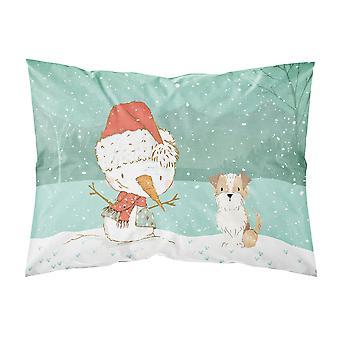 براون والأبيض الكلب ثلج عيد الميلاد عيد الميلاد النسيج وسادة القياسية