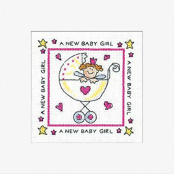 Heritage Crafts Cross Stitch Greeting Card Kit - New Baby Girl