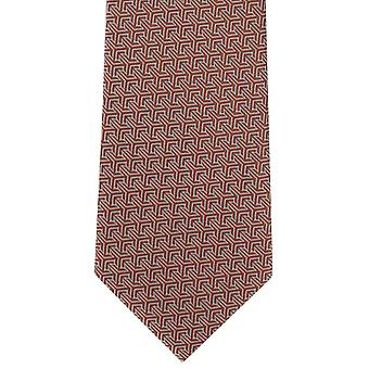 Michelsons de Londres entrelazado geométrico corbata poliéster - naranja