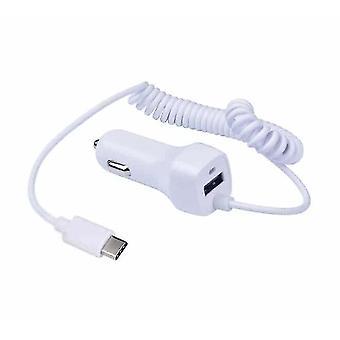 Motorola Moto G8 Plus Caricabatterie per auto bianco Cigarette Lighter 12v USB integrato Tipo-C