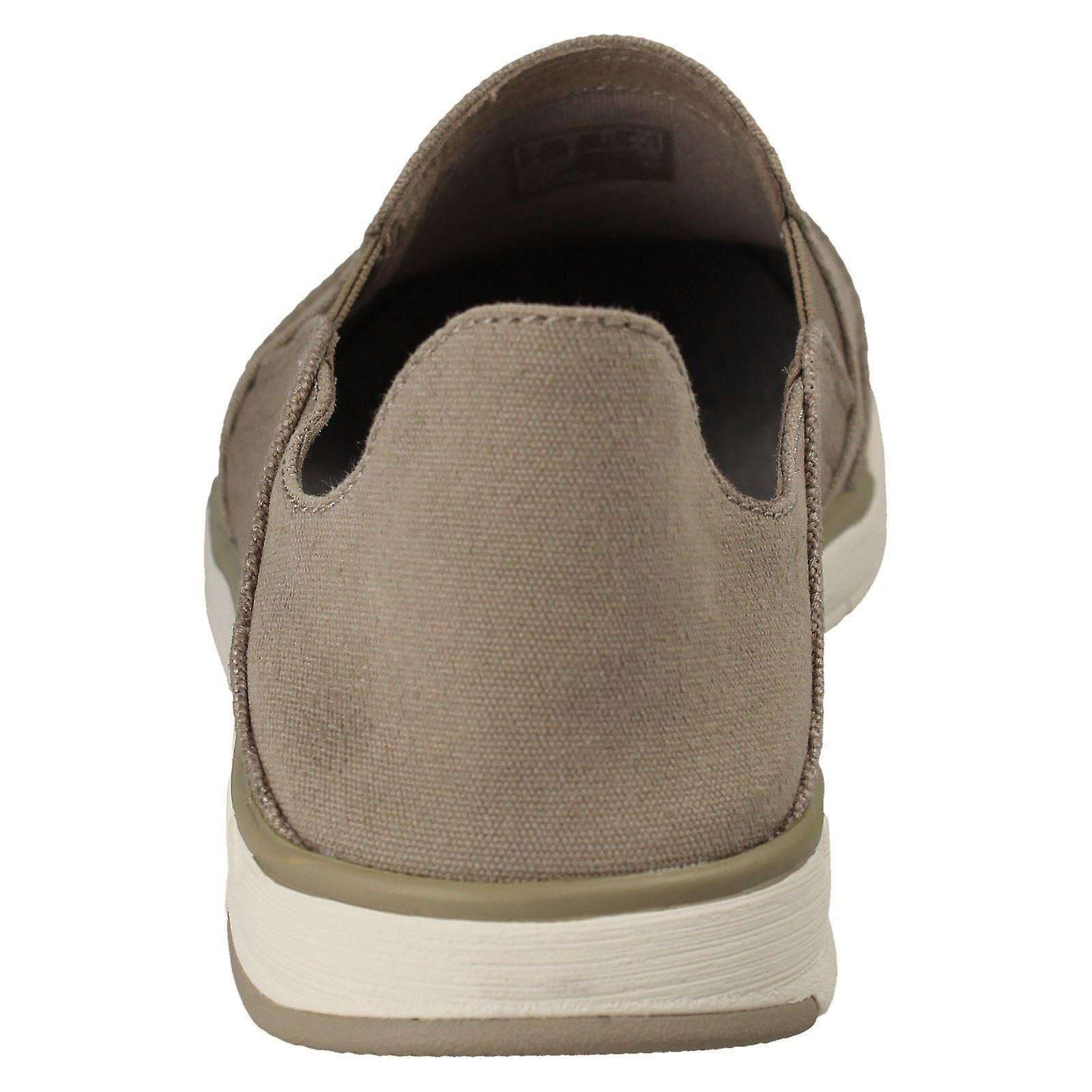 Mens Cloud Steppers door Clarks Canvas Slip On Shoes Step Isle Row 4Tv8nB