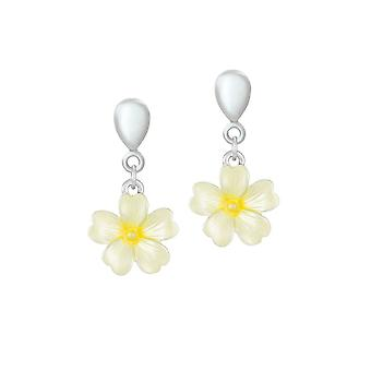Eternal Collection Primrose Yellow Enamel Flower Drop Screw Back Clip On Earrings