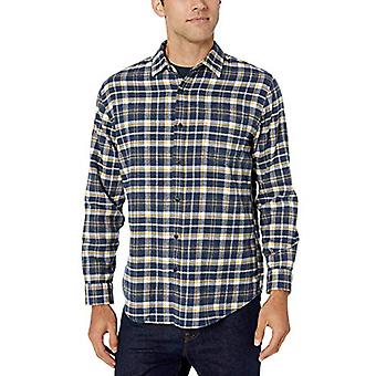 Essentials Men's Gray Regular-Fit Long-Sleeve Plaid Flanel Shirt, Nav...
