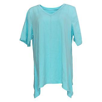 Denim & Co. Women's Plus Top Perfect Jersey Neck Trapeze Hem Blue A254299