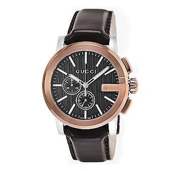 גוצ ' י YA101202 G כרונו XL חיוג שחור עור חום גברים ' s שעון
