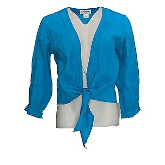 NorthStyle Women's Sweater Crinkle Tie Cardigan Turquoise Blue
