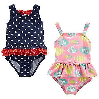 カーター&アポスによるシンプルな喜び;sベビーガールズ&アポス;幼児2パックワンピース水着、ネイビー..