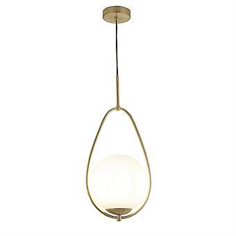 1 lichte hanger goud, opaal, glas, E27