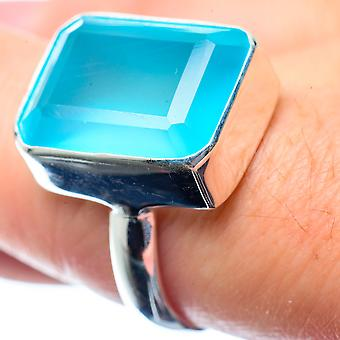 Aqua Chalcedony Ring Size 8 (925 Sterling Silver)  - Handmade Boho Vintage Jewelry RING26518