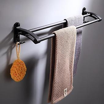 Svart europeisk design dubbel stång badrum hårdvara pendel handduk rack kök badrumstillbehör