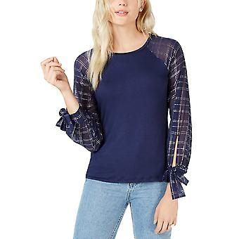 Maison Jules | Plaid-Sleeve Contrast Top