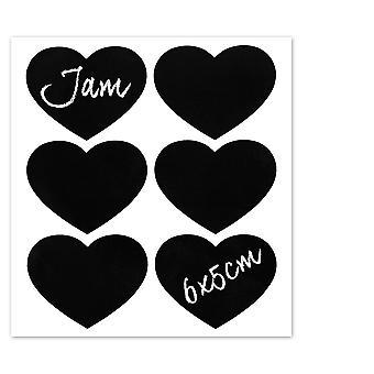 Nicola Spring Set of 6 Chalkboard Labels for Glass Jars - Blackboard Stickers for Preserving, Storage - Heart - 6cm x 5cm