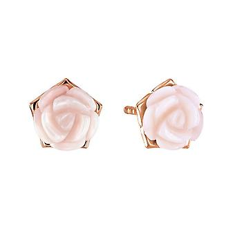 Dew Silver Mother Of Pearl Pink Carnation Rose Gold Plate Stud Earrings 30802MPR028