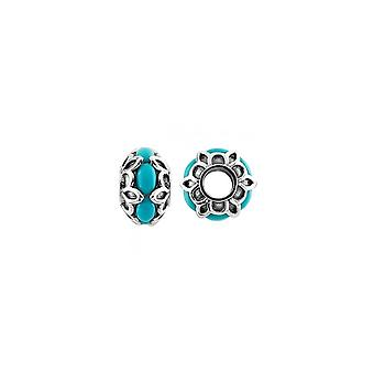 Storywheels Oxidised Silver & Turquoise Patterned Charm S483TQ