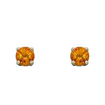Elements Gold 9ct November Citrine 4mm Stud Earrings GE2336