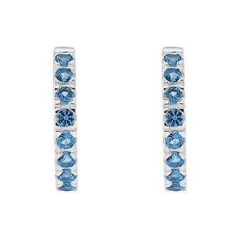 الندى الاسترليني الفضة Huggie الأزرق مكعب زيركونيا مسمار الأقراط 5427BLZ