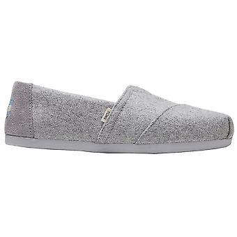 Toms Classic Alpargata Shoes - Grey Felt / Faux Shearling