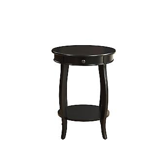 Round Black Wood End Table with Storage and Shelf