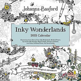 Johanna Basford 2021 Coloring Wall Calendar  Inky Wonderlands by Johanna Basford