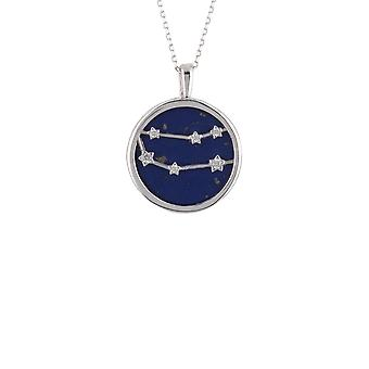 Zodiac Lapis Blue Gemstone Star Pendant Necklace Silver Gemini