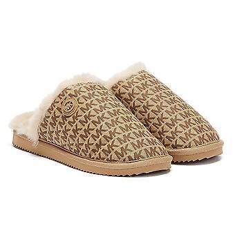 מייקל קורס ג'ניס ג'אקארד לוגו נשים נעלי בית בז'