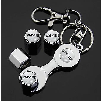 Set of 4 Chrome Anti-Theft Car Tyre Air Dust Valve Stem Cap With Keyring Spanner For Mercedes Benz AMG