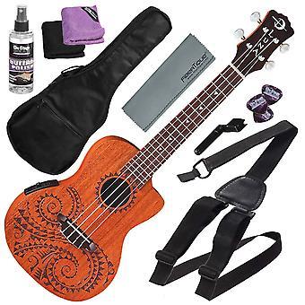 لونا الوشم الصوتية الكهربائية الحفل ukulele مع gigbag وحزمة التبعي الأساسية