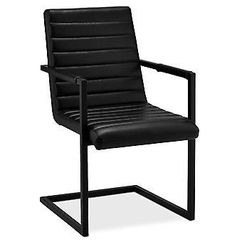 Ibbe Design Fanny Matstol Svart Faux Läder - Set om 2, 53x66x93 cm