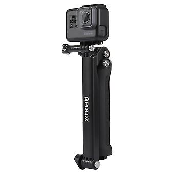 PULUZ 3-Way Grip Foldable Multi-functional Selfie-stick Extension Monopod with Tripod for GoPro HERO9 Black / HERO8 Black /HERO7 /6 /5, DJI Osmo Actio